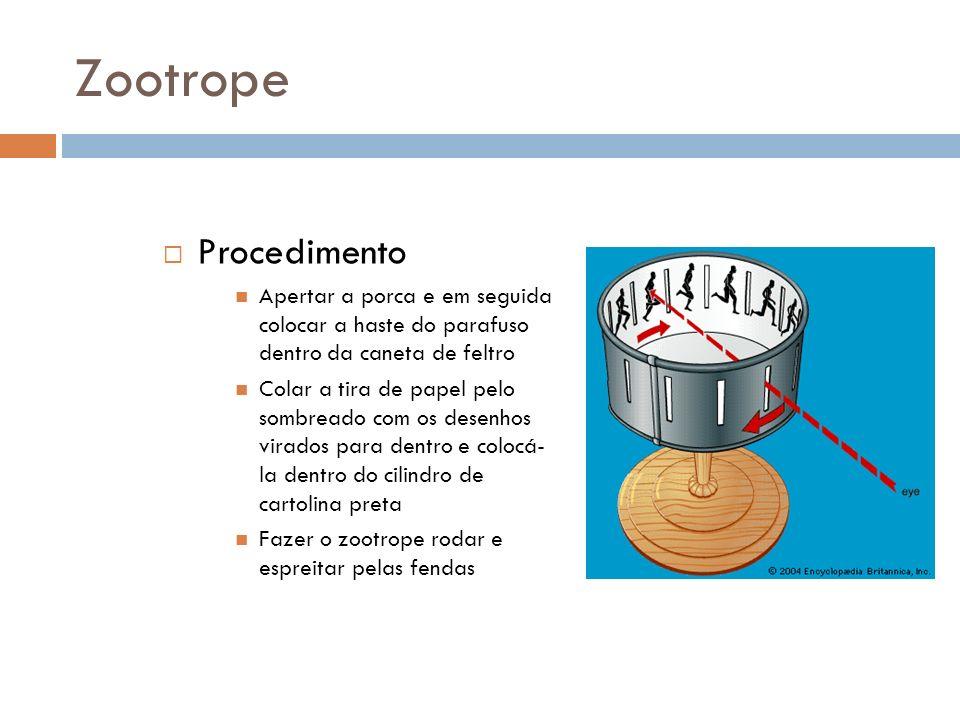 Zootrope Procedimento Apertar a porca e em seguida colocar a haste do parafuso dentro da caneta de feltro Colar a tira de papel pelo sombreado com os