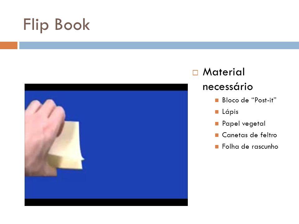 Flip Book Material necessário Bloco de Post-it Lápis Papel vegetal Canetas de feltro Folha de rascunho