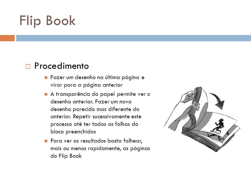 Flip Book Procedimento Fazer um desenho na última página e virar para a página anterior A transparência do papel permite ver o desenho anterior. Fazer