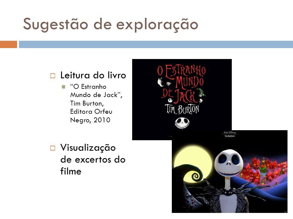 Sugestão de exploração Leitura do livro O Estranho Mundo de Jack, Tim Burton, Editora Orfeu Negro, 2010 Visualização de excertos do filme