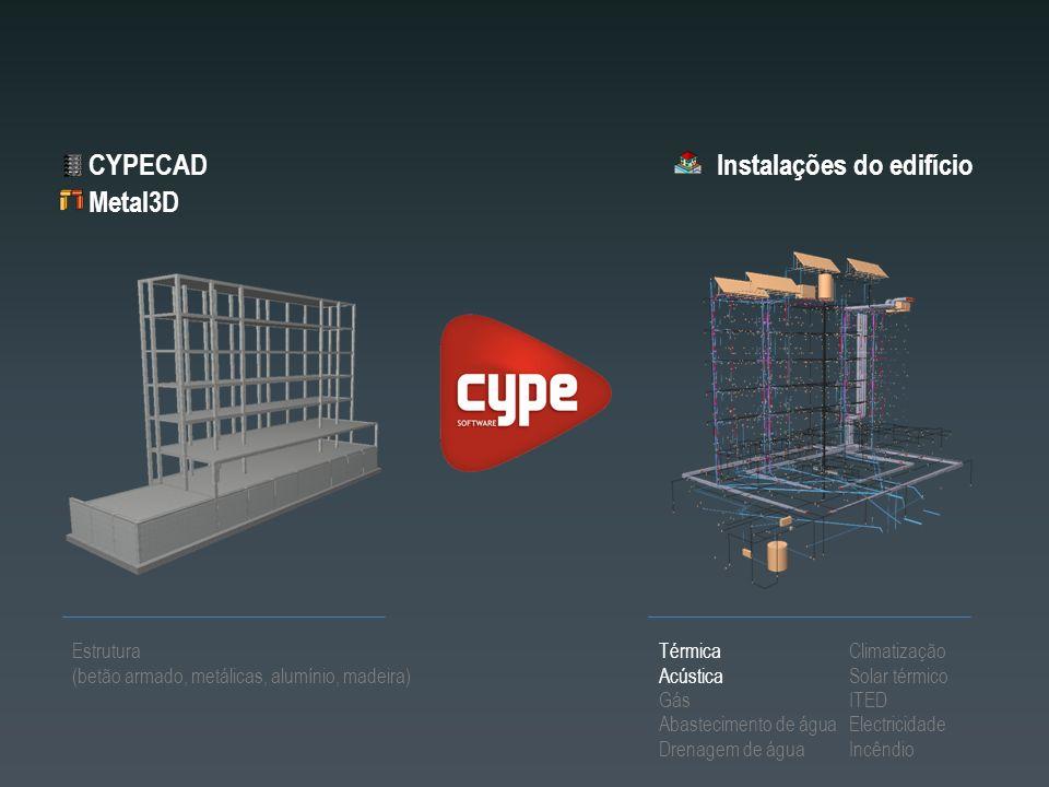 Instalações do edifício Estrutura (betão armado, metálicas, alumínio, madeira) CYPECAD Térmica Acústica Gás Abastecimento de água Drenagem de água Cli