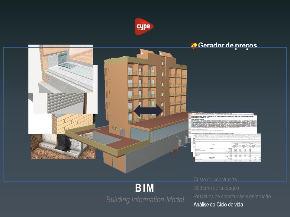 Gerador de preços Custo de construção Caderno de encargos Resíduos de construção e demolição Análise do Ciclo de vida BIM Building Information Model