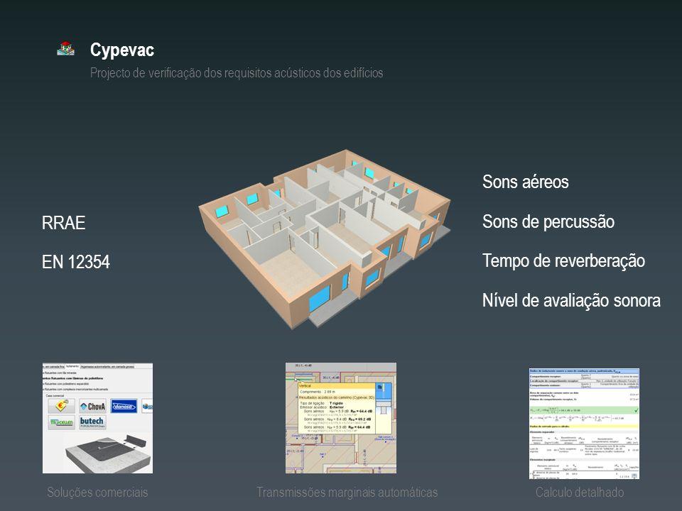 Cypevac Projecto de verificação dos requisitos acústicos dos edifícios RRAE EN 12354 Sons aéreos Sons de percussão Nível de avaliação sonora Tempo de