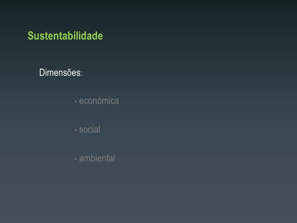 Sustentabilidade Dimensões : - ambiental - económica - social