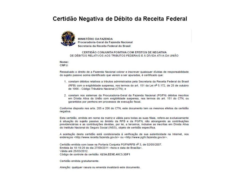 Certidão Negativa de Débito da Receita Federal
