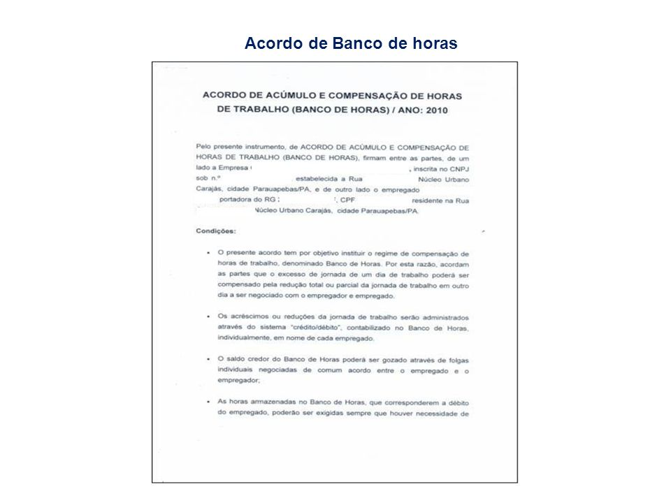 Acordo de Banco de horas