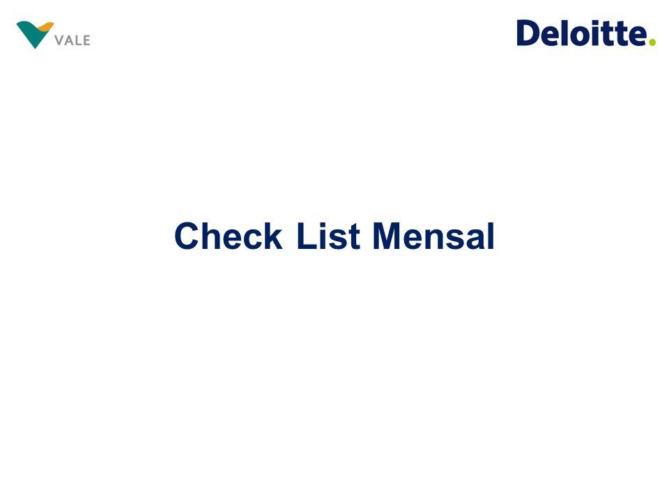 Check List Visando otimizar as análises e diante da nossa experiência, em conjunto com a Vale, realizamos algumas modificações no check list de entrega de documentos mensais.