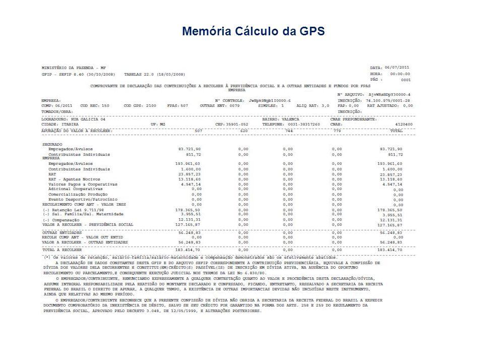 Memória Cálculo da GPS