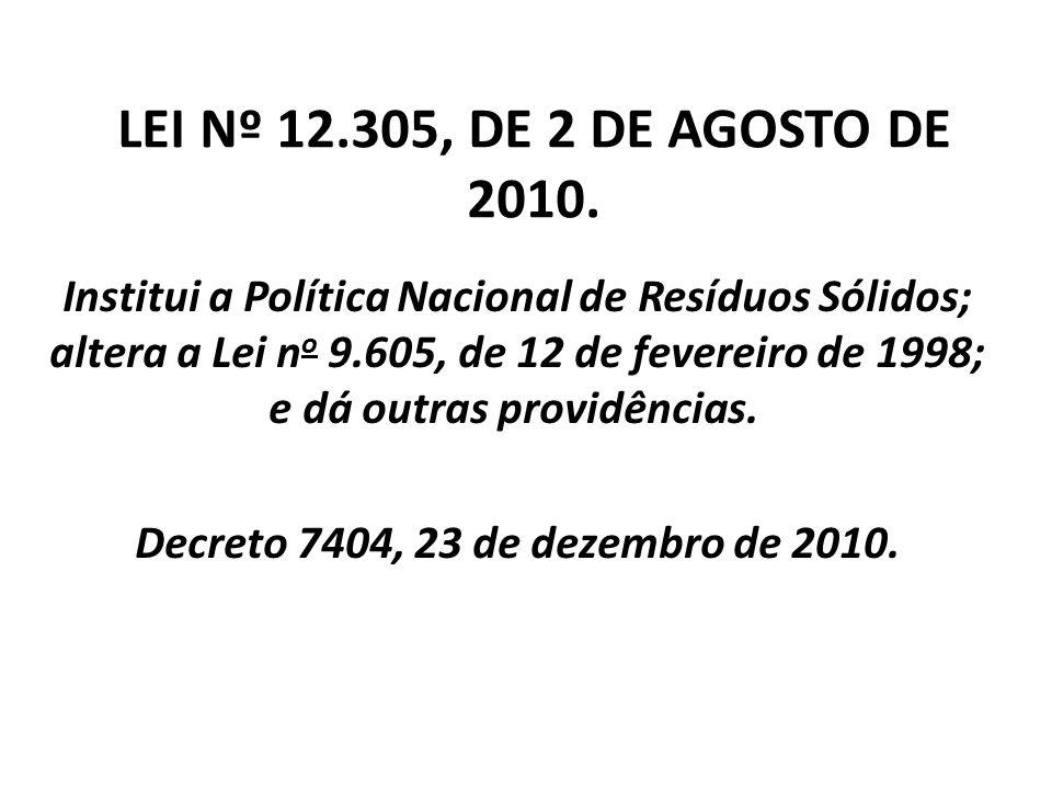 LEI Nº 12.305, DE 2 DE AGOSTO DE 2010. Institui a Política Nacional de Resíduos Sólidos; altera a Lei n o 9.605, de 12 de fevereiro de 1998; e dá outr