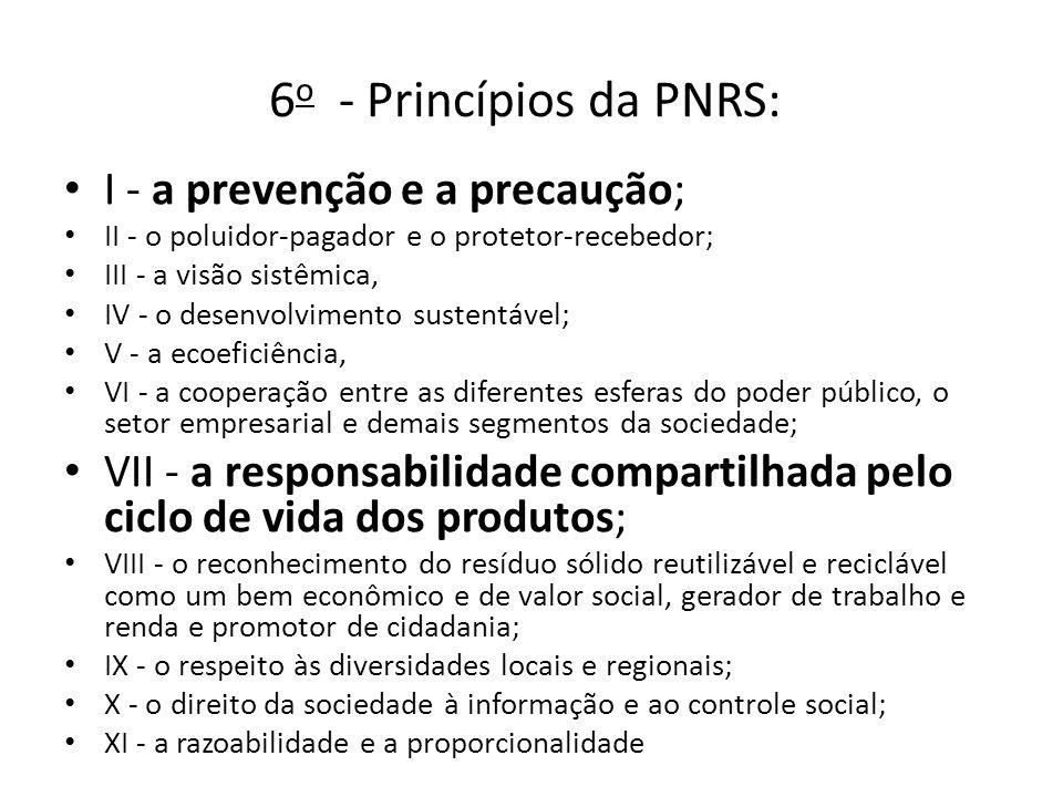 6 o - Princípios da PNRS: I - a prevenção e a precaução; II - o poluidor-pagador e o protetor-recebedor; III - a visão sistêmica, IV - o desenvolvimen