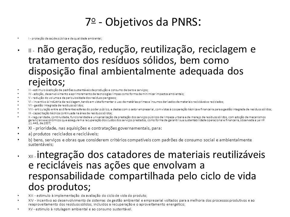 7 o - Objetivos da PNRS : I - proteção da saúde pública e da qualidade ambiental; II - não geração, redução, reutilização, reciclagem e tratamento dos