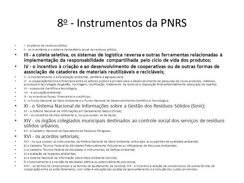 8 o - Instrumentos da PNRS I - os planos de resíduos sólidos; II - os inventários e o sistema declaratório anual de resíduos sólidos; III - a coleta seletiva, os sistemas de logística reversa e outras ferramentas relacionadas à implementação da responsabilidade compartilhada pelo ciclo de vida dos produtos; IV - o incentivo à criação e ao desenvolvimento de cooperativas ou de outras formas de associação de catadores de materiais reutilizáveis e recicláveis; V - o monitoramento e a fiscalização ambiental, sanitária e agropecuária; VI - a cooperação técnica e financeira entre os setores público e privado para o desenvolvimento de pesquisas de novos produtos, métodos, processos e tecnologias de gestão, reciclagem, reutilização, tratamento de resíduos e disposição final ambientalmente adequada de rejeitos; VII - a pesquisa científica e tecnológica; VIII - a educação ambiental; IX - os incentivos fiscais, financeiros e creditícios; X - o Fundo Nacional do Meio Ambiente e o Fundo Nacional de Desenvolvimento Científico e Tecnológico; XI - o Sistema Nacional de Informações sobre a Gestão dos Resíduos Sólidos (Sinir); XII - o Sistema Nacional de Informações em Saneamento Básico (Sinisa); XIII - os conselhos de meio ambiente e, no que couber, os de saúde; XIV - os órgãos colegiados municipais destinados ao controle social dos serviços de resíduos sólidos urbanos; XV - o Cadastro Nacional de Operadores de Resíduos Perigosos; XVI - os acordos setoriais; XVII - no que couber, os instrumentos da Política Nacional de Meio Ambiente, entre eles: a) os padrões de qualidade ambiental; b) o Cadastro Técnico Federal de Atividades Potencialmente Poluidoras ou Utilizadoras de Recursos Ambientais; c) o Cadastro Técnico Federal de Atividades e Instrumentos de Defesa Ambiental; d) a avaliação de impactos ambientais; e) o Sistema Nacional de Informação sobre Meio Ambiente (Sinima); f) o licenciamento e a revisão de atividades efetiva ou potencialmente poluidoras; XVIII - os termos de compromi