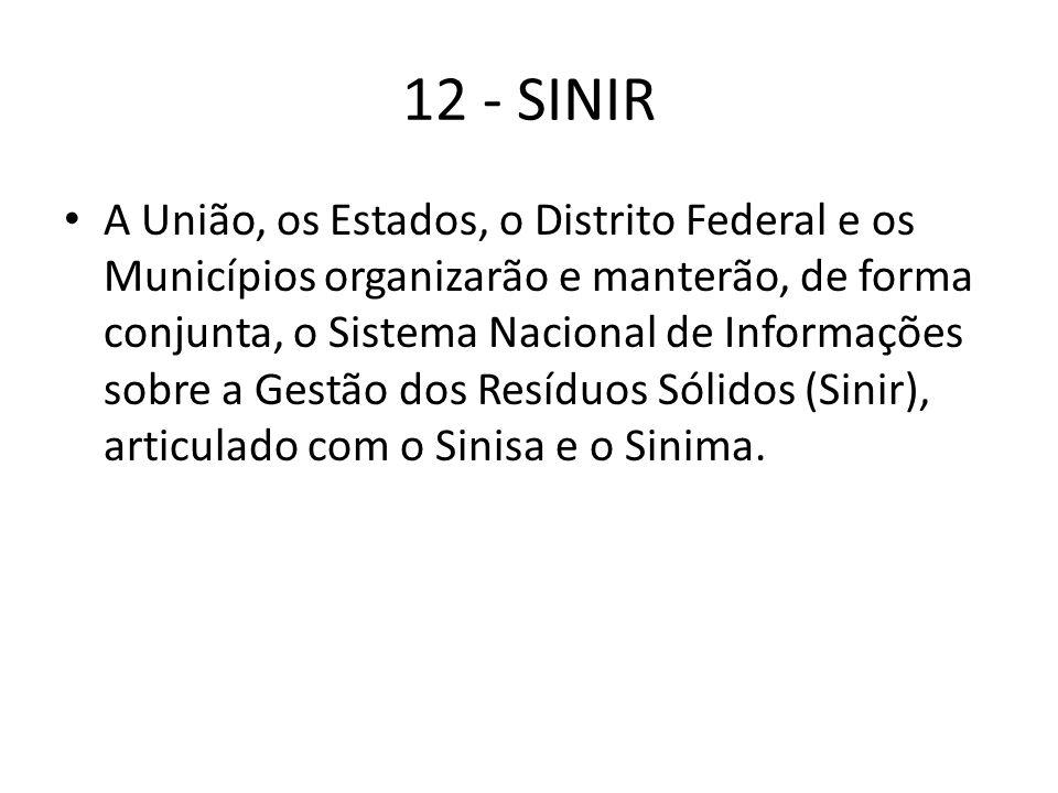 12 - SINIR A União, os Estados, o Distrito Federal e os Municípios organizarão e manterão, de forma conjunta, o Sistema Nacional de Informações sobre a Gestão dos Resíduos Sólidos (Sinir), articulado com o Sinisa e o Sinima.