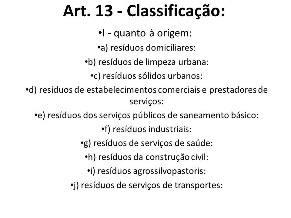 Art. 13 - Classificação: I - quanto à origem: a) resíduos domiciliares: b) resíduos de limpeza urbana: c) resíduos sólidos urbanos: d) resíduos de est