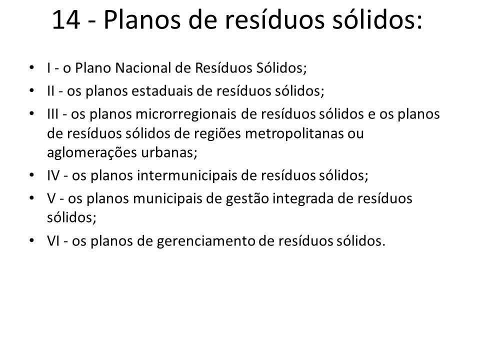 14 - Planos de resíduos sólidos: I - o Plano Nacional de Resíduos Sólidos; II - os planos estaduais de resíduos sólidos; III - os planos microrregiona