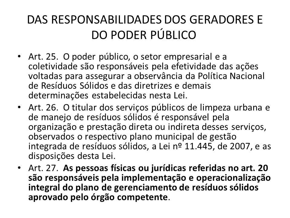 DAS RESPONSABILIDADES DOS GERADORES E DO PODER PÚBLICO Art. 25. O poder público, o setor empresarial e a coletividade são responsáveis pela efetividad