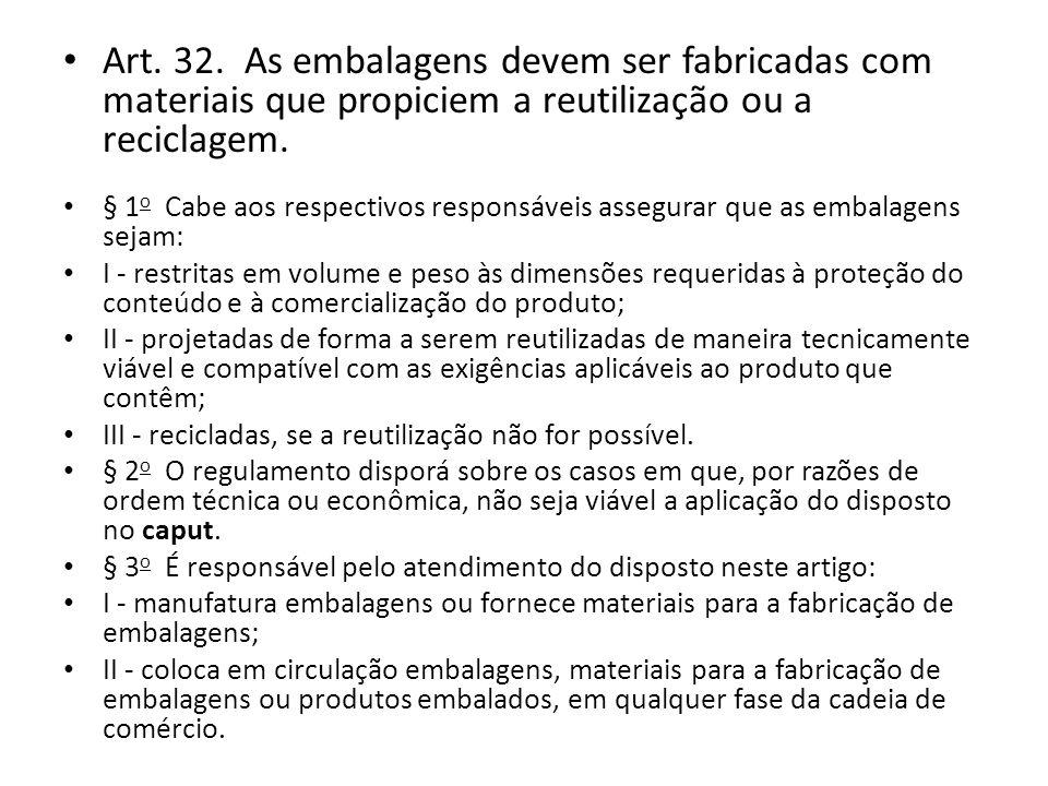 Art. 32. As embalagens devem ser fabricadas com materiais que propiciem a reutilização ou a reciclagem. § 1 o Cabe aos respectivos responsáveis assegu