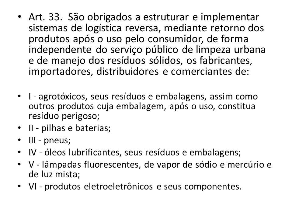 Art. 33. São obrigados a estruturar e implementar sistemas de logística reversa, mediante retorno dos produtos após o uso pelo consumidor, de forma in