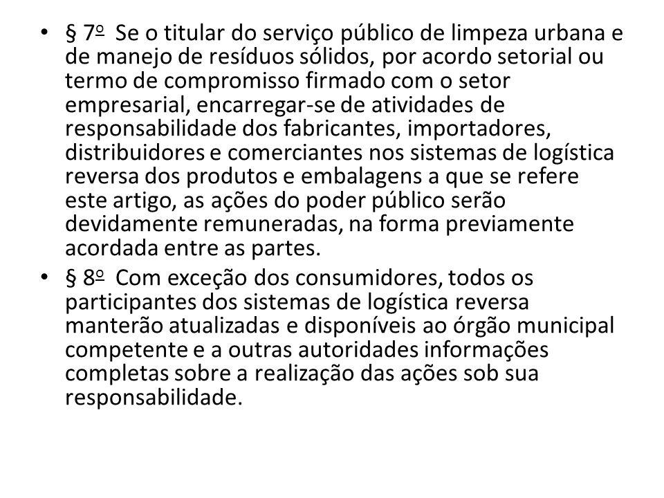 § 7 o Se o titular do serviço público de limpeza urbana e de manejo de resíduos sólidos, por acordo setorial ou termo de compromisso firmado com o set