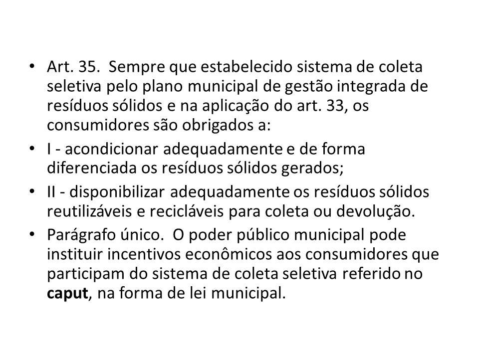 Art. 35. Sempre que estabelecido sistema de coleta seletiva pelo plano municipal de gestão integrada de resíduos sólidos e na aplicação do art. 33, os