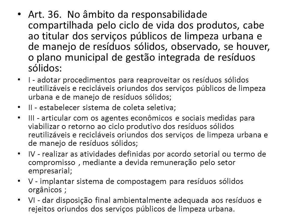Art. 36. No âmbito da responsabilidade compartilhada pelo ciclo de vida dos produtos, cabe ao titular dos serviços públicos de limpeza urbana e de man