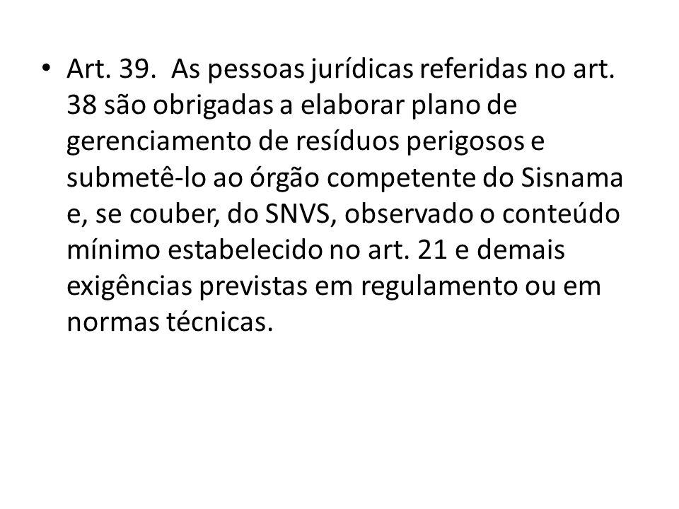 Art. 39. As pessoas jurídicas referidas no art. 38 são obrigadas a elaborar plano de gerenciamento de resíduos perigosos e submetê-lo ao órgão compete