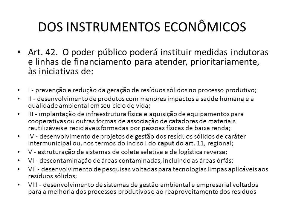 DOS INSTRUMENTOS ECONÔMICOS Art. 42. O poder público poderá instituir medidas indutoras e linhas de financiamento para atender, prioritariamente, às i