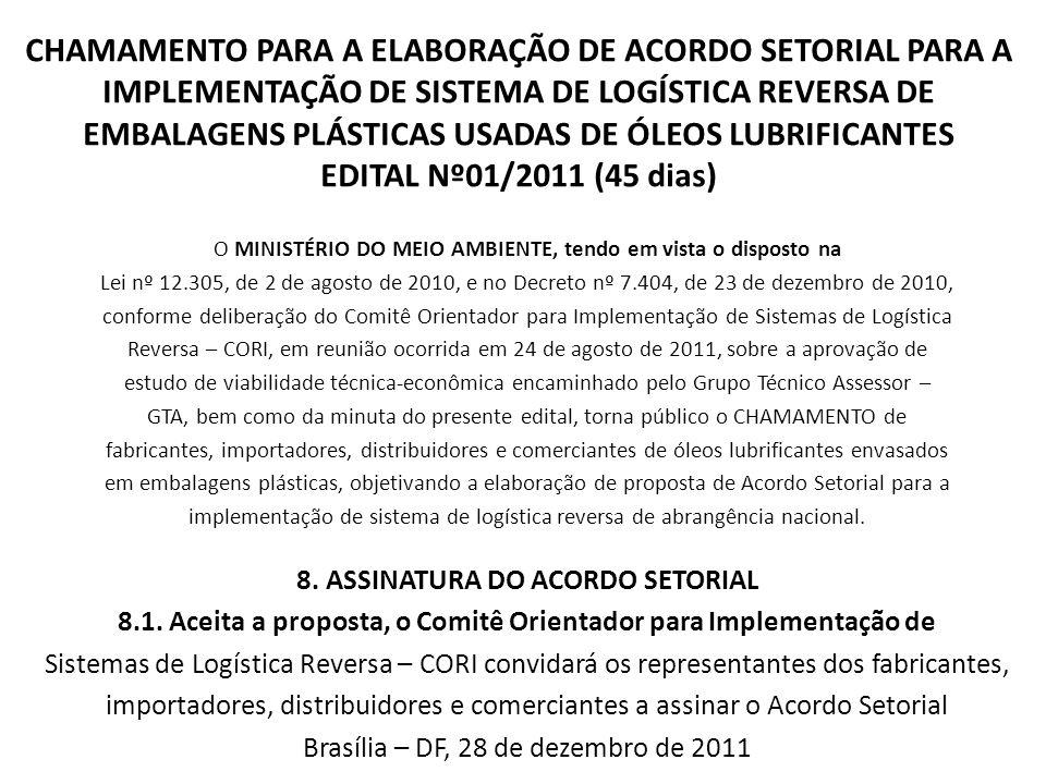 CHAMAMENTO PARA A ELABORAÇÃO DE ACORDO SETORIAL PARA A IMPLEMENTAÇÃO DE SISTEMA DE LOGÍSTICA REVERSA DE EMBALAGENS PLÁSTICAS USADAS DE ÓLEOS LUBRIFICA