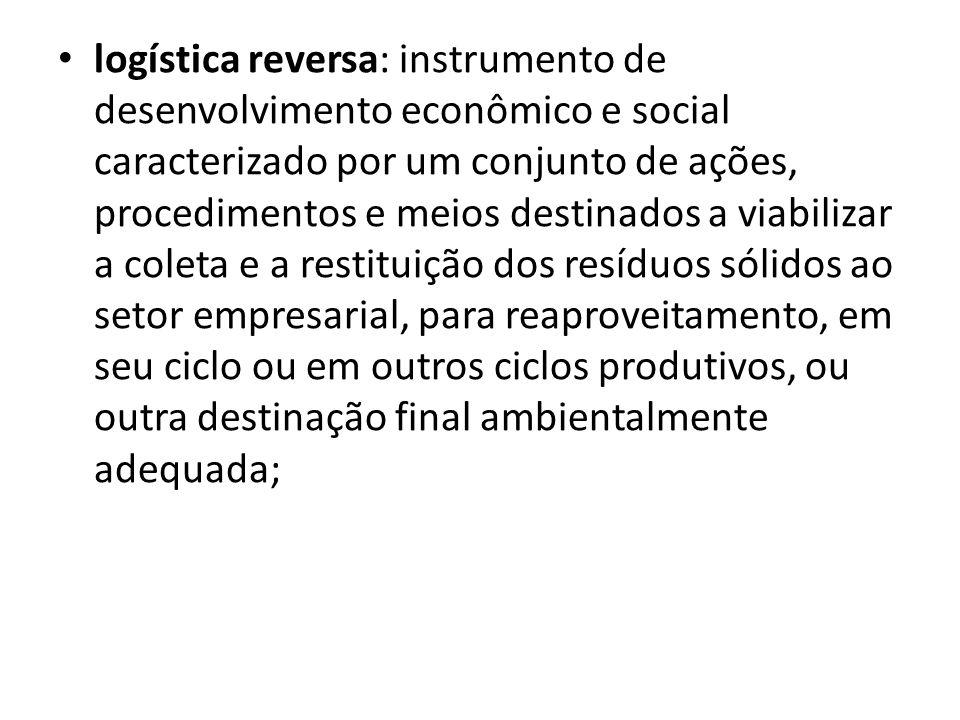 logística reversa: instrumento de desenvolvimento econômico e social caracterizado por um conjunto de ações, procedimentos e meios destinados a viabil