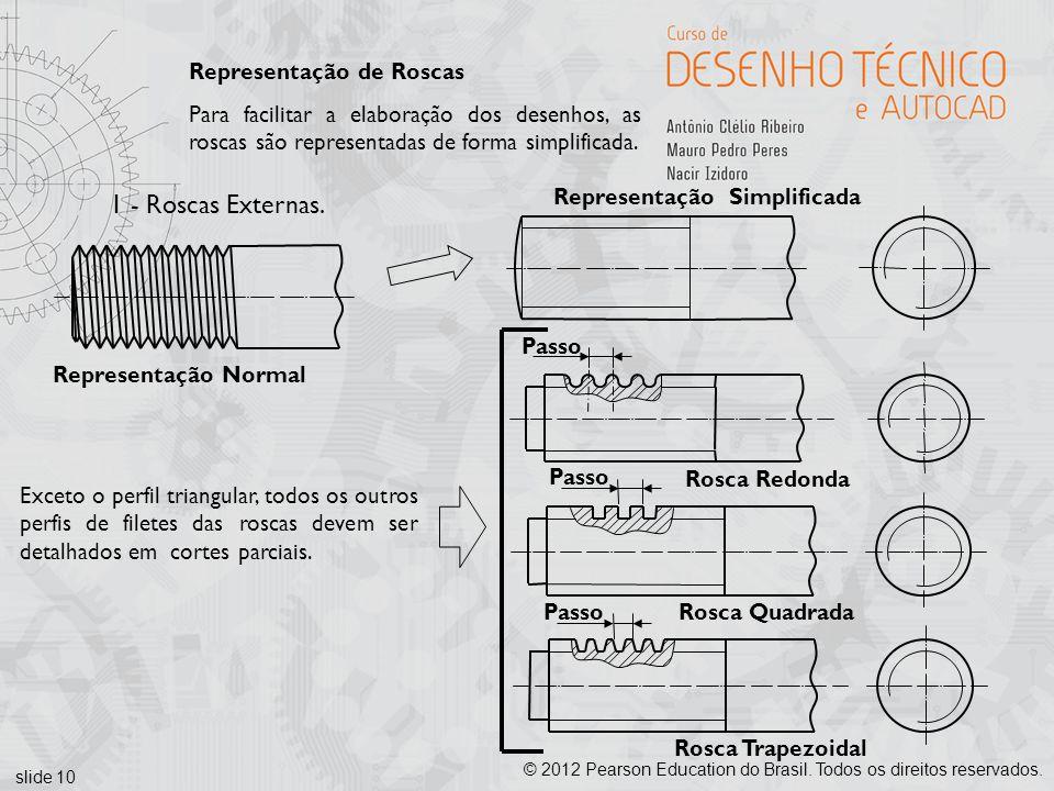 slide 10 © 2012 Pearson Education do Brasil. Todos os direitos reservados. Representação Simplificada Representação de Roscas Para facilitar a elabora