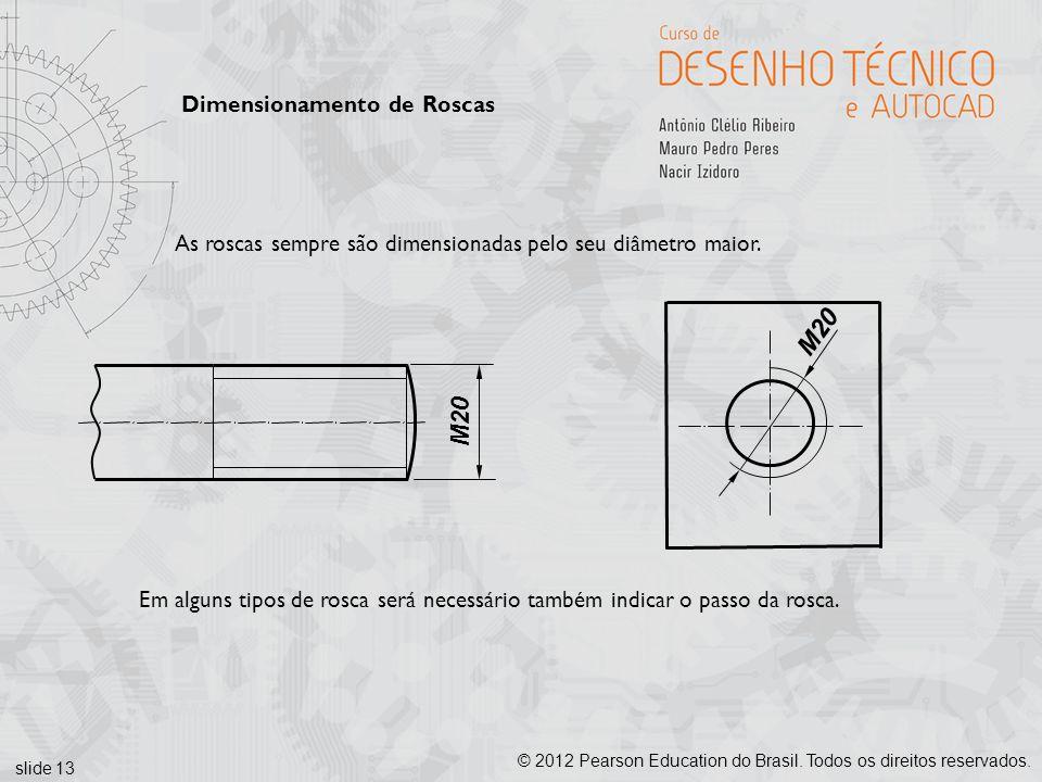 slide 13 © 2012 Pearson Education do Brasil. Todos os direitos reservados. Dimensionamento de Roscas M20 As roscas sempre são dimensionadas pelo seu d