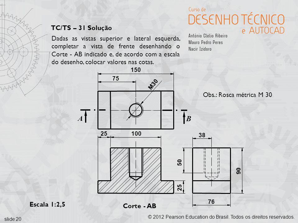 slide 20 © 2012 Pearson Education do Brasil. Todos os direitos reservados. Corte - AB Escala 1:2,5 B A 150 75 100 25 76 38 90 50 25 M30 Obs.: Rosca mé