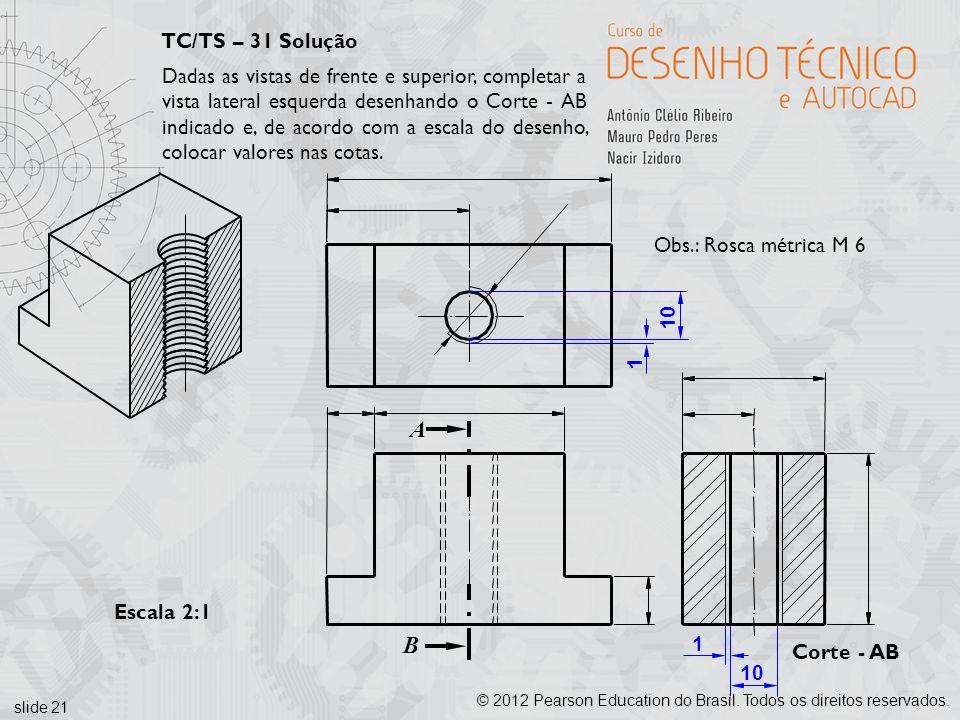 slide 21 © 2012 Pearson Education do Brasil. Todos os direitos reservados. Corte - AB Escala 2:1 A B 10 1 1 Obs.: Rosca métrica M 6 TC/TS – 31 Solução