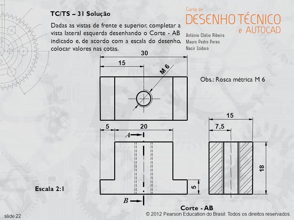 slide 22 © 2012 Pearson Education do Brasil. Todos os direitos reservados. Corte - AB Escala 2:1 A B 30 15 205 15 7,5 18 5 M 6 Obs.: Rosca métrica M 6