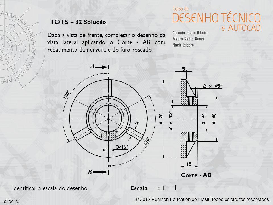 slide 23 © 2012 Pearson Education do Brasil. Todos os direitos reservados. TC/TS – 32 Solução Corte - AB Escala : Dada a vista de frente, completar o