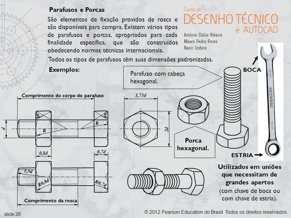 slide 26 © 2012 Pearson Education do Brasil. Todos os direitos reservados. Parafusos e Porcas São elementos de fixação providos de rosca e são disponí
