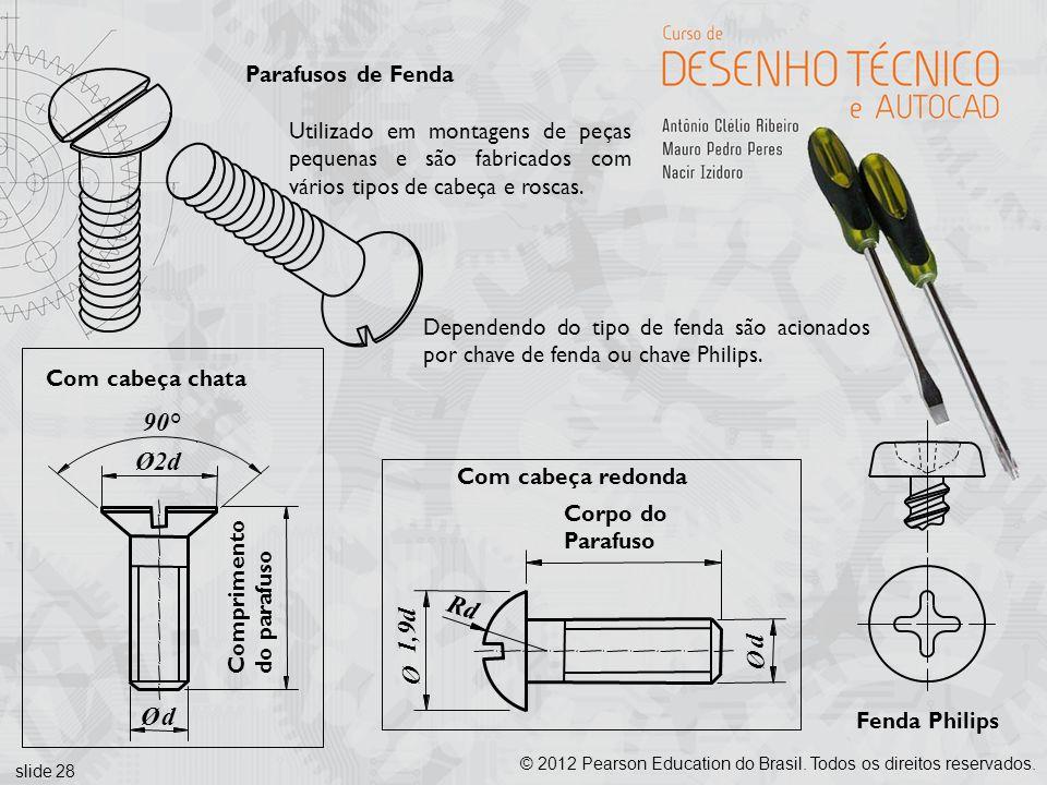 slide 28 © 2012 Pearson Education do Brasil. Todos os direitos reservados. Parafusos de Fenda Ø2d 90° Ød Comprimento do parafuso Com cabeça chata Corp