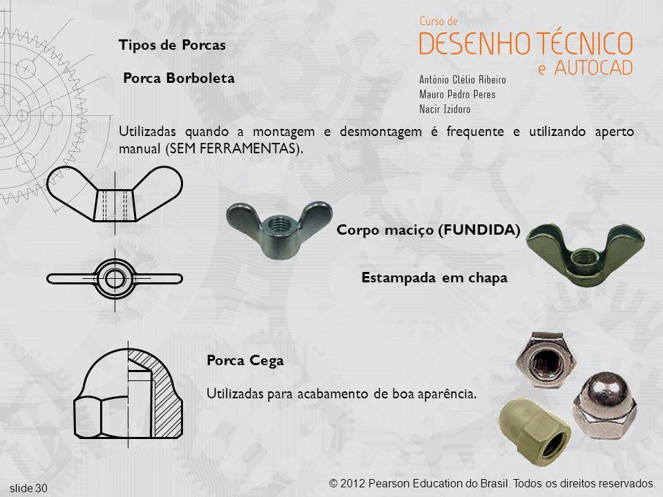slide 30 © 2012 Pearson Education do Brasil. Todos os direitos reservados. Tipos de Porcas Porca Borboleta Utilizadas quando a montagem e desmontagem