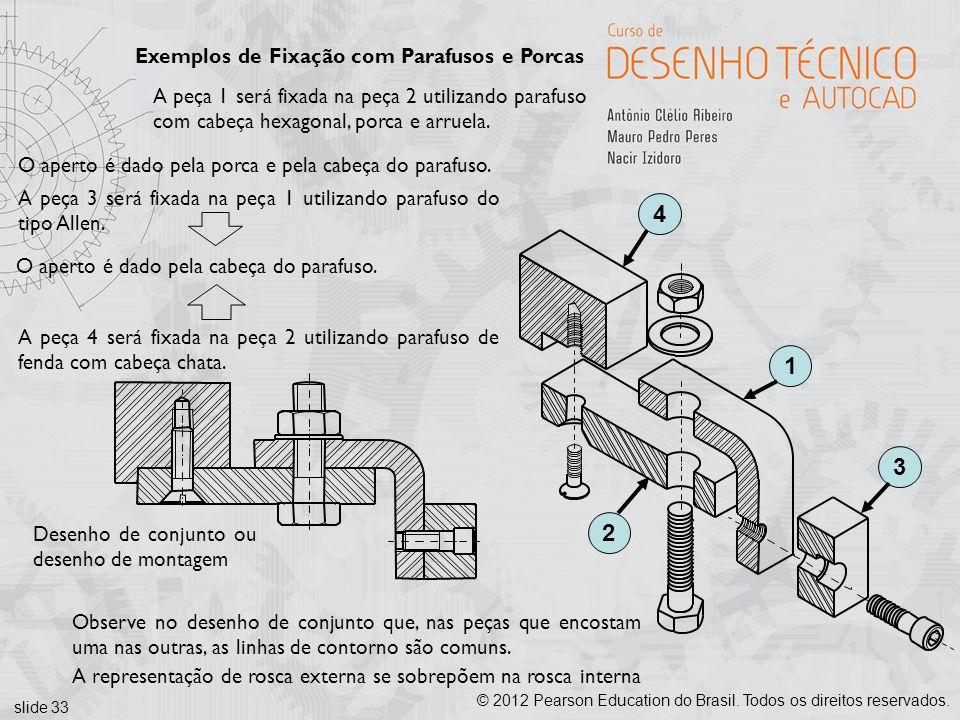 slide 33 © 2012 Pearson Education do Brasil. Todos os direitos reservados. Exemplos de Fixação com Parafusos e Porcas 1234 A peça 1 será fixada na peç