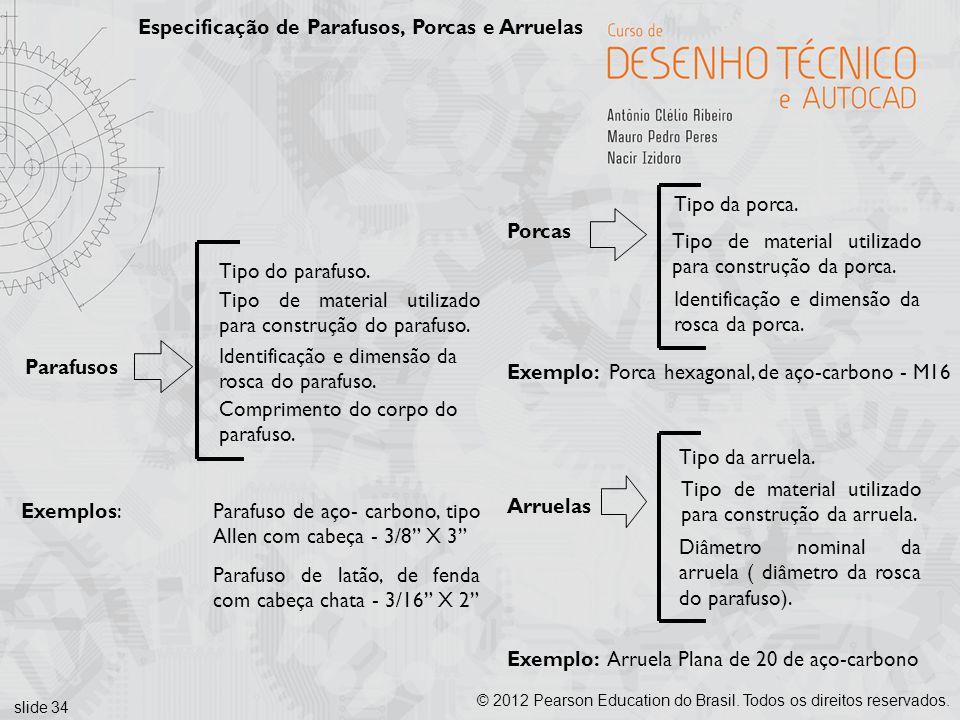 slide 34 © 2012 Pearson Education do Brasil. Todos os direitos reservados. Especificação de Parafusos, Porcas e Arruelas Parafusos Tipo do parafuso. C