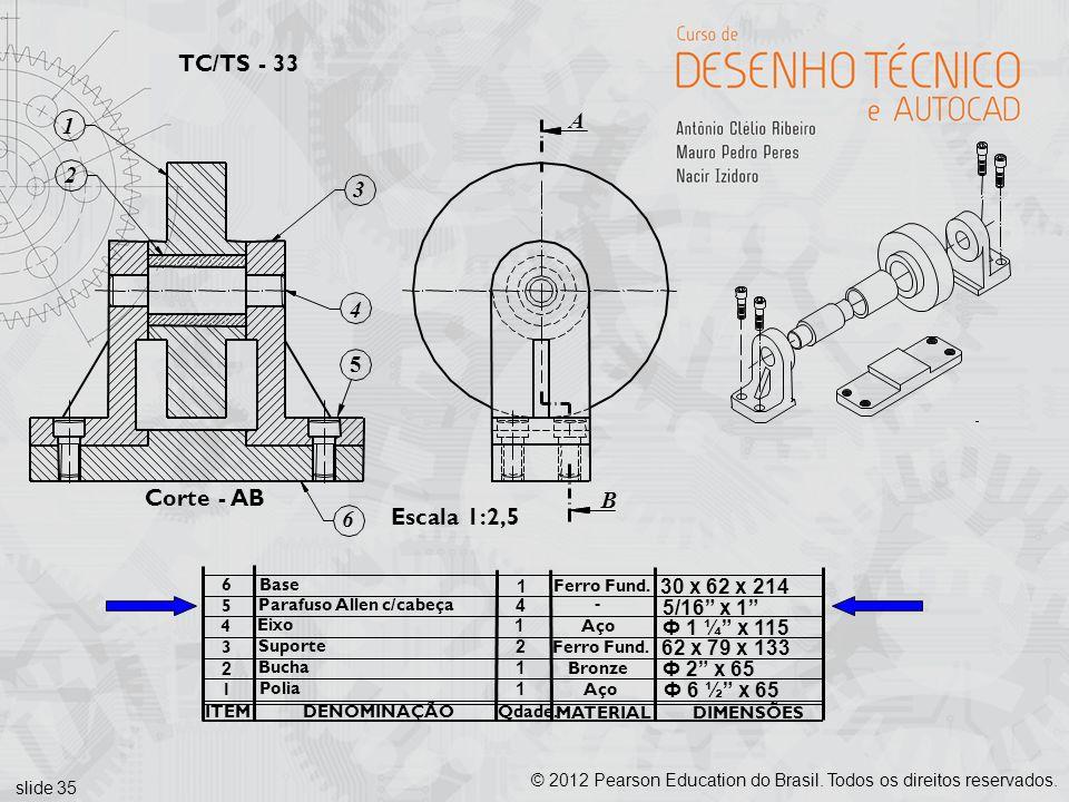 slide 35 © 2012 Pearson Education do Brasil. Todos os direitos reservados. TC/TS - 33 Escala 1:2,5 DENOMINAÇÃO ITEM MATERIAL Qdade. DIMENSÕES 1 Polia