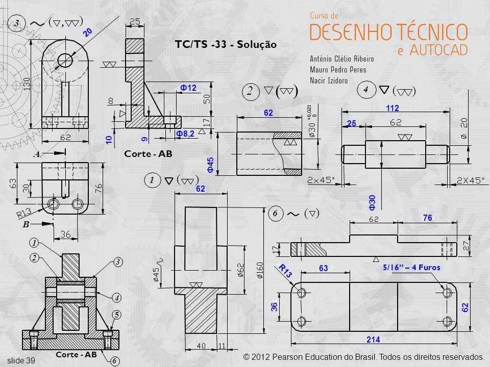slide 39 © 2012 Pearson Education do Brasil. Todos os direitos reservados. 20 Ф12 Ф8,2 9 10 25 112 Ф30 Ф45 62 Corte - AB A 3 (, ( B 76 63 214 62 36 R1
