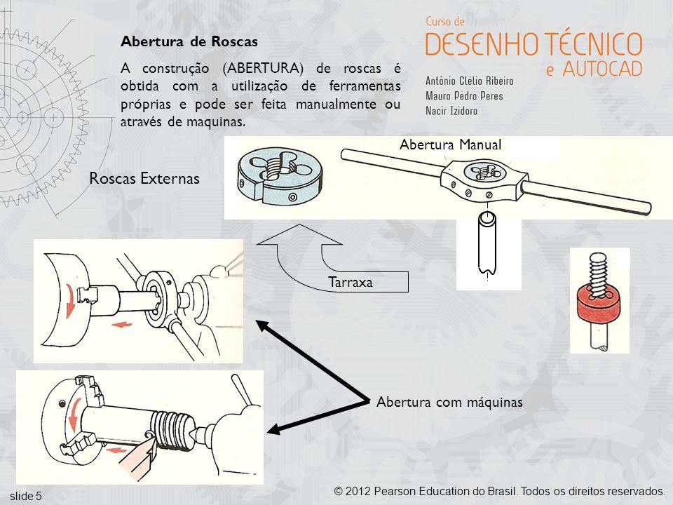 slide 5 © 2012 Pearson Education do Brasil. Todos os direitos reservados. Abertura de Roscas A construção (ABERTURA) de roscas é obtida com a utilizaç