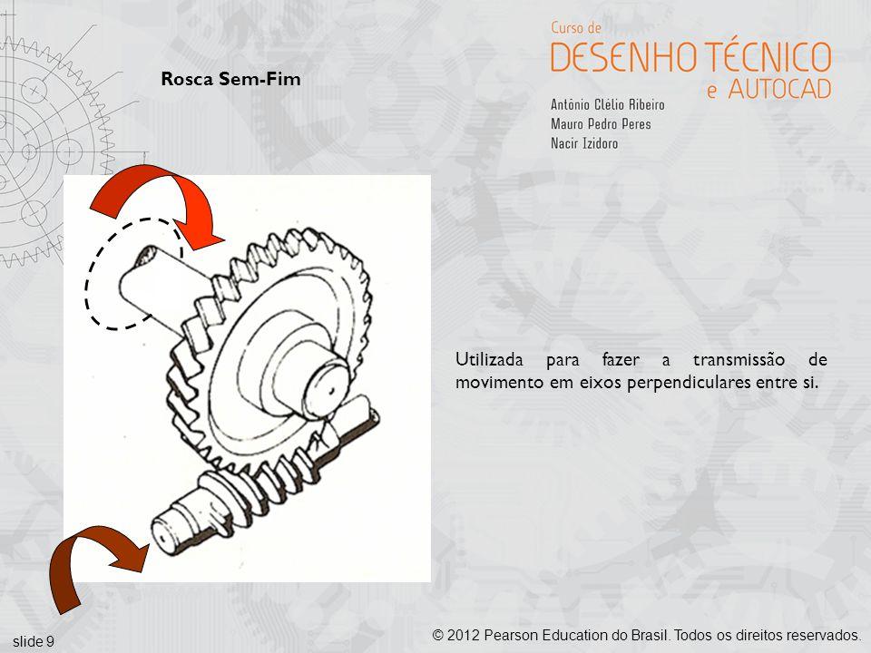 slide 9 © 2012 Pearson Education do Brasil. Todos os direitos reservados. Rosca Sem-Fim Utilizada para fazer a transmissão de movimento em eixos perpe