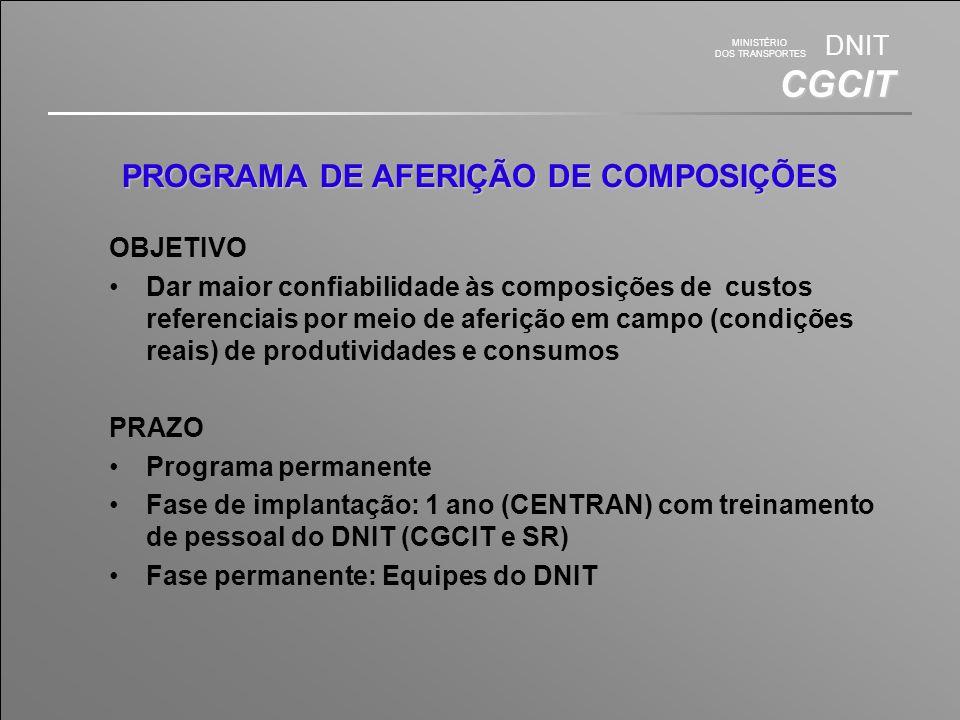 MINISTÉRIO DOS TRANSPORTES DNIT CGCIT PROGRAMA DE AFERIÇÃO DE COMPOSIÇÕES OBJETIVO Dar maior confiabilidade às composições de custos referenciais por meio de aferição em campo (condições reais) de produtividades e consumos PRAZO Programa permanente Fase de implantação: 1 ano (CENTRAN) com treinamento de pessoal do DNIT (CGCIT e SR) Fase permanente: Equipes do DNIT
