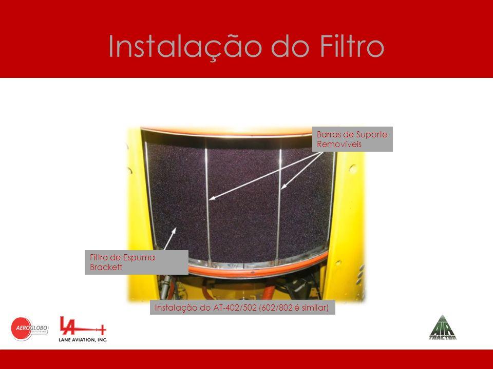 Instalação do Filtro Barras de Suporte Removíveis Filtro de Espuma Brackett Instalação do AT-402/502 (602/802 é similar)