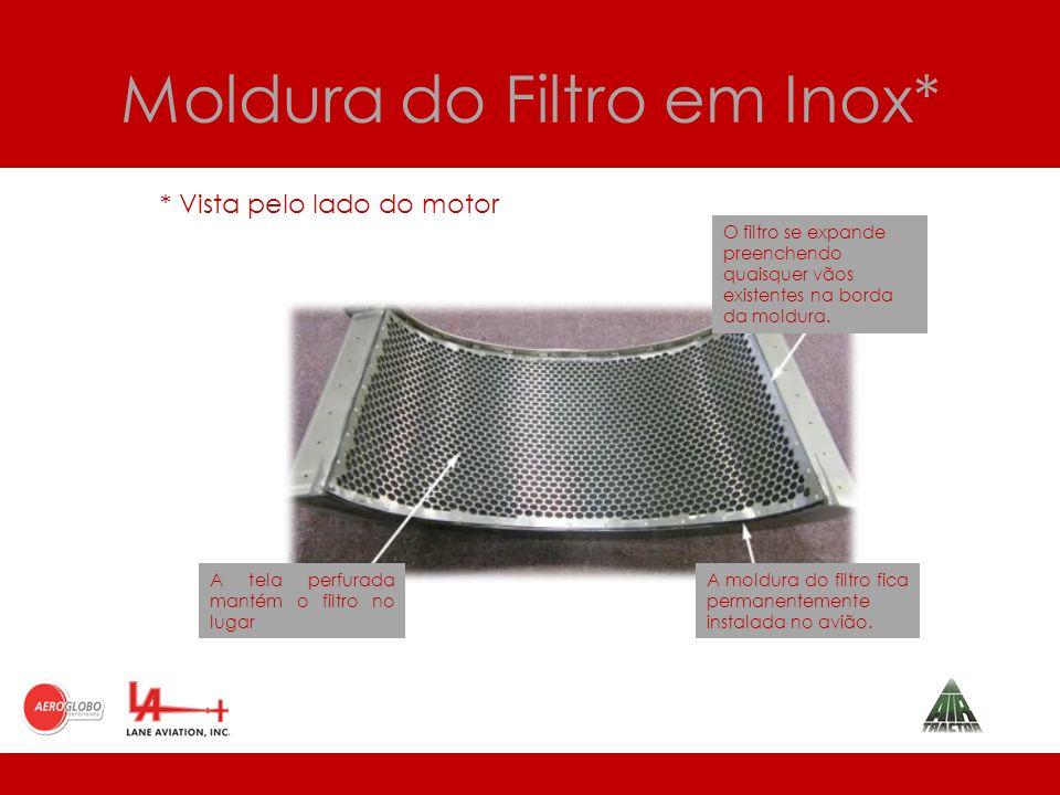 Moldura do Filtro em Inox* O filtro se expande preenchendo quaisquer vãos existentes na borda da moldura.