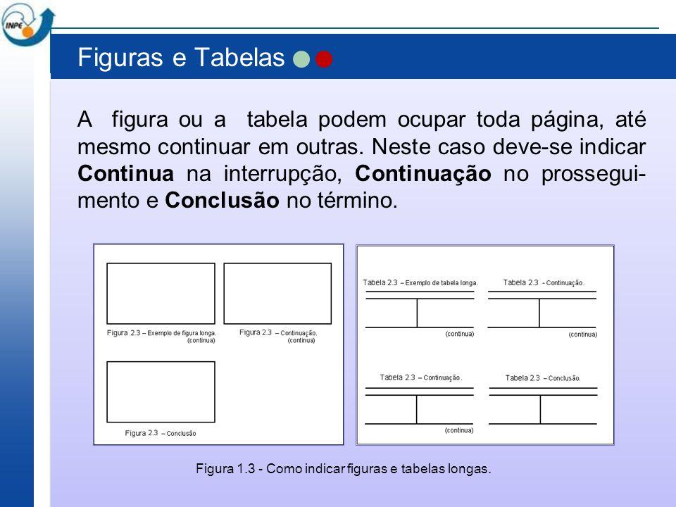 Figuras e Tabelas A figura ou a tabela podem ocupar toda página, até mesmo continuar em outras. Neste caso deve-se indicar Continua na interrupção, Co
