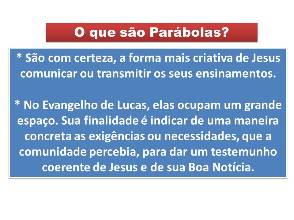 * São com certeza, a forma mais criativa de Jesus comunicar ou transmitir os seus ensinamentos. * No Evangelho de Lucas, elas ocupam um grande espaço.