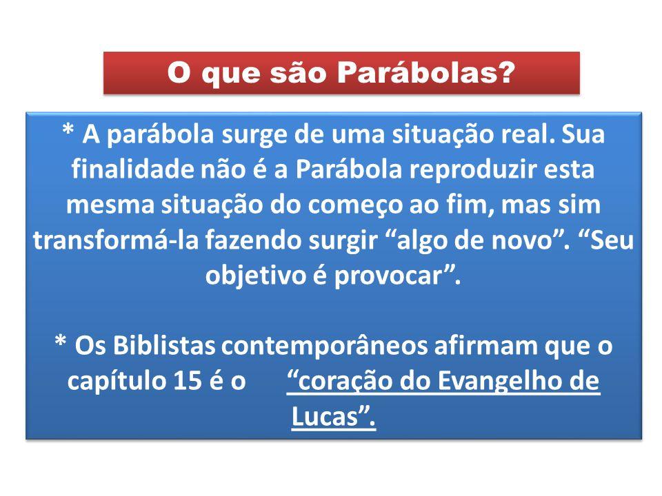 * A parábola surge de uma situação real. Sua finalidade não é a Parábola reproduzir esta mesma situação do começo ao fim, mas sim transformá-la fazend